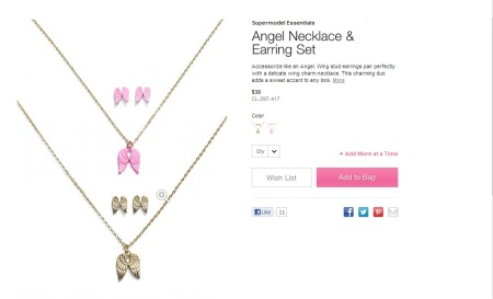 angel necklace earring
