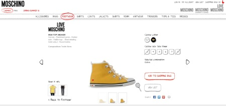 yellow shoes moschino