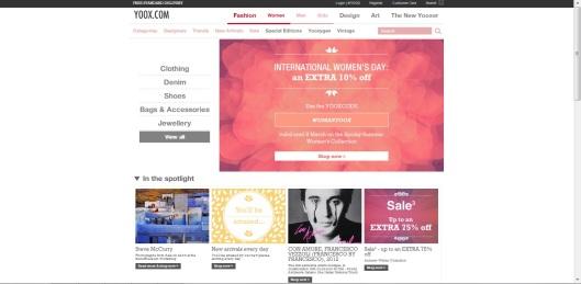 yoox homepage