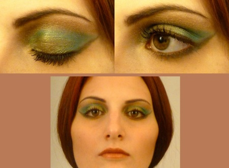 make up pearly green and brown